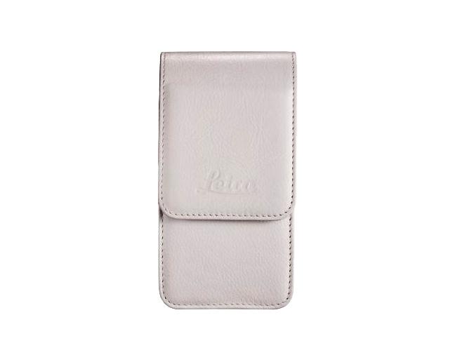 Etui Cuir long pour C-Lux3-blanc mat et grande courroie d epaule