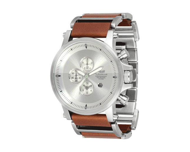 Vestal Plexi Leather Brushed Silver/Brown