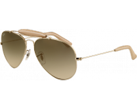 Ray-Ban Craft Outdoorsman RB3422Q Arista/Light Brown Leather Crystal Polar Green Silver Mirror Green