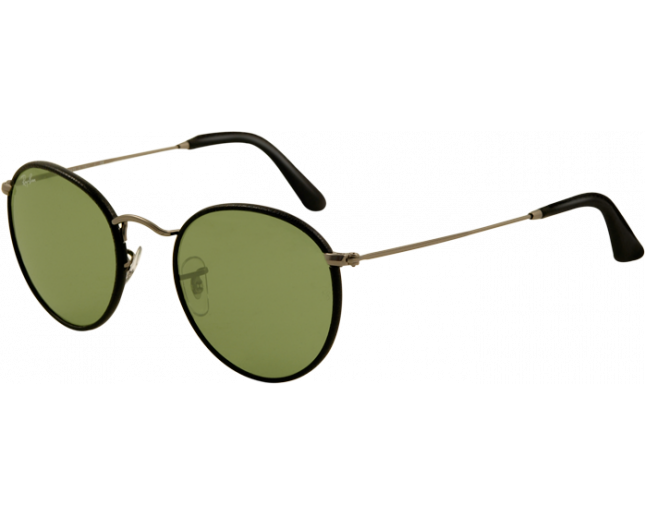 Ray-Ban Round Craft RB3475Q Matte Gunmetal/Black Leather Crystal Green
