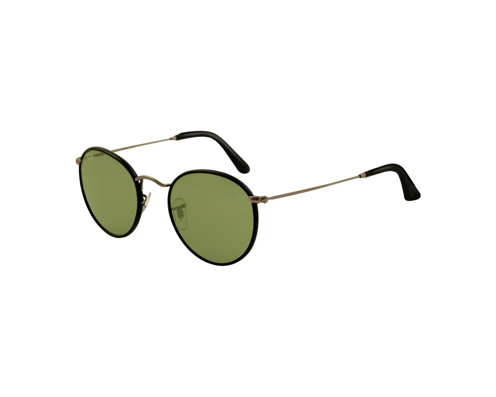 Ray ban round craft rb3475q matte gunmetal black leather for Ray ban round craft