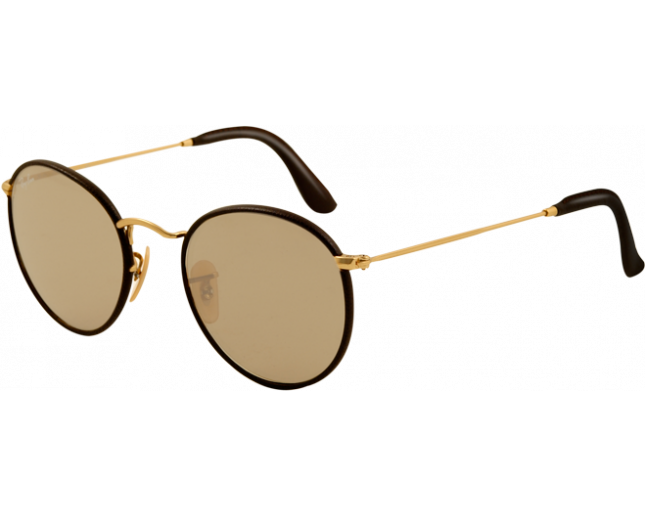 Ray ban round craft rb3475q matte arista brown leather for Ray ban round craft
