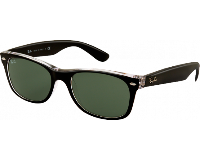 c2528879d Ray-Ban New Wayfarer Top Black On Transparent Green Polar - RB2132 6052/58  - Sunglasses - IceOptic