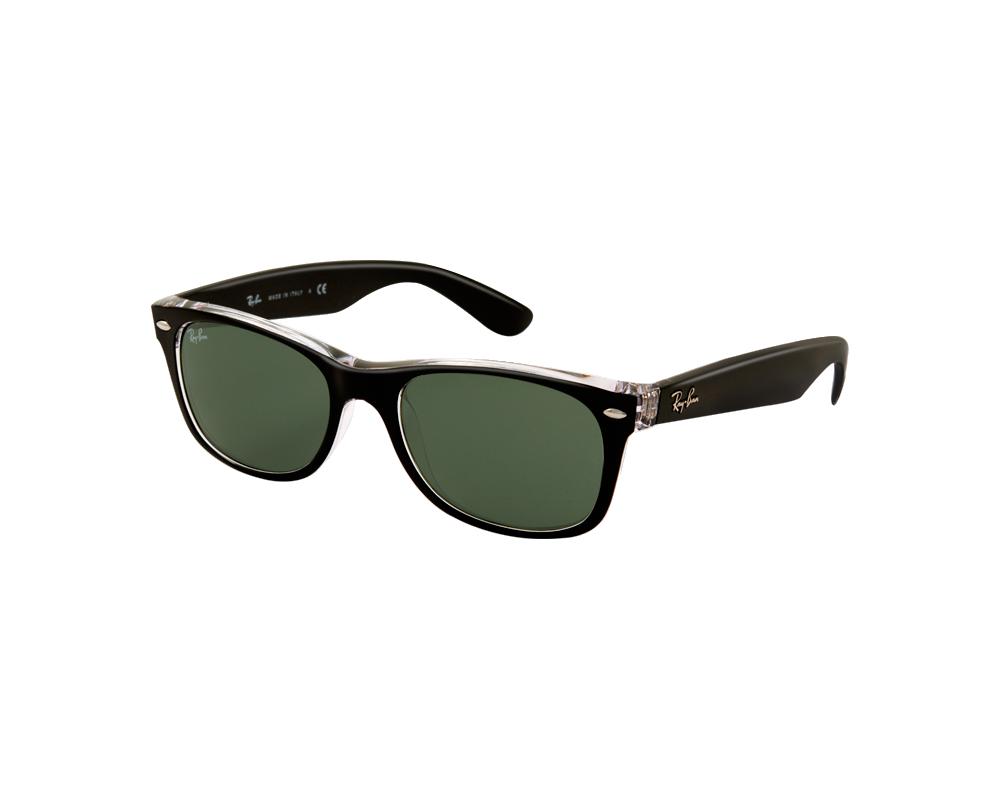 8752c82e75 Ray-Ban New Wayfarer Top Black On Transparent Green Polar - RB2132 6052 58  - Sunglasses - IceOptic