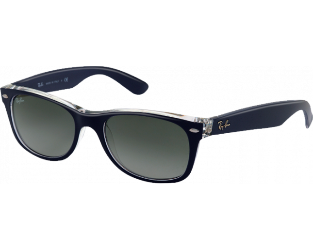 9cdd97cbe Ray-Ban New Wayfarer Top Matte Blue On Transparent Grey Gradient - RB2132  6053/71 - Sunglasses - IceOptic
