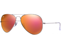 Ray-Ban Aviator Flash Lens RB3025 Matte Silver Brown Mirror Pink