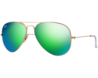 Ray-Ban Aviator Classic Flash Lens RB3025 Matte Gold Green Mirror Polar