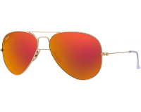 Ray-Ban Aviator Classic Matte Gold Crystal Brown Mirror Orange