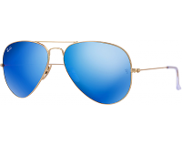 Ray-Ban Aviator Flash Lens Matte Gold Blue Mirror Polar