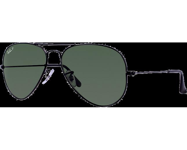 Ray-Ban Aviator Classic Black Crystal Green Polarized