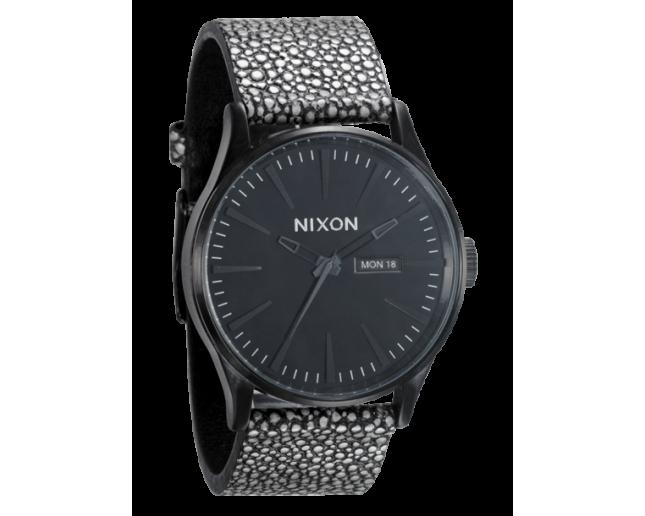 Nixon The Sentry Leather All Black/Pebble