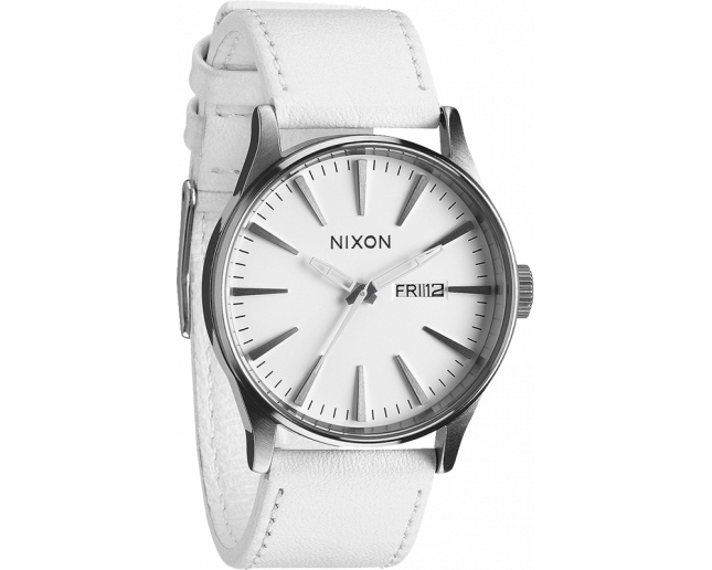 Nixon The Sentry Leather Silver/White