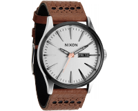 Nixon The Sentry Leather Saddle/Silver