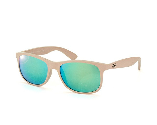 0099e954310f0 Ray-Ban Andy RB4202 Shiny Beige On Matte Top Green Mirror Green - RB4202  6154 3R - Sunglasses - IceOptic