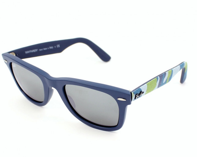 22c6295d03b15 Ray-Ban Original Wayfarer Urban Camouflage Matte Blue Grey Silver Mirror -  RB2140 6061 40 - Sunglasses - IceOptic