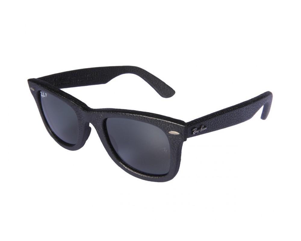 partito Democratico BERMAD fascismo  Ray-Ban Original Wayfarer Leather Black Leather Used Polarised Neophan  Green - RB2140QM 1152/N5 - Sunglasses - IceOptic
