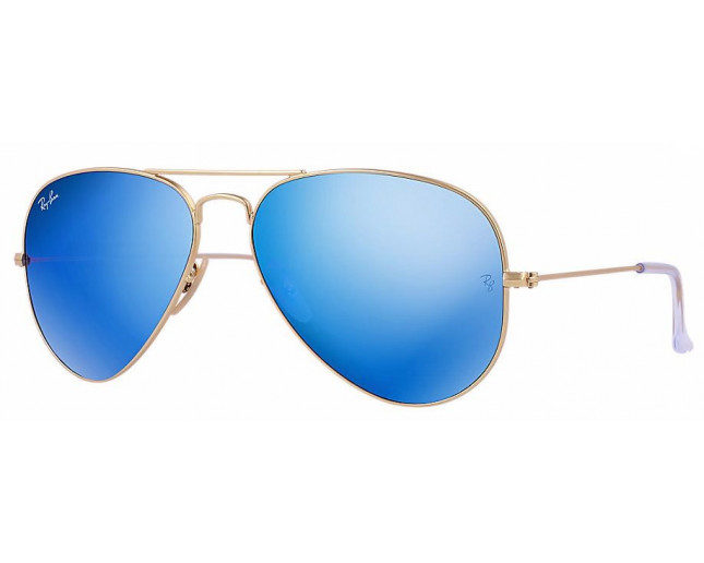 Ray-Ban Aviator Classic Matte Gold Crystal Green Mutlilayer Bleu