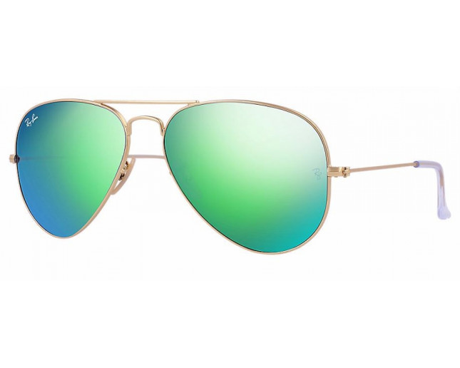 452c56bf0230f Ray-Ban Aviator Matte Gold Crystal Green Mirror Multilayer Green - RB3025  112 19 - Sunglasses - IceOptic