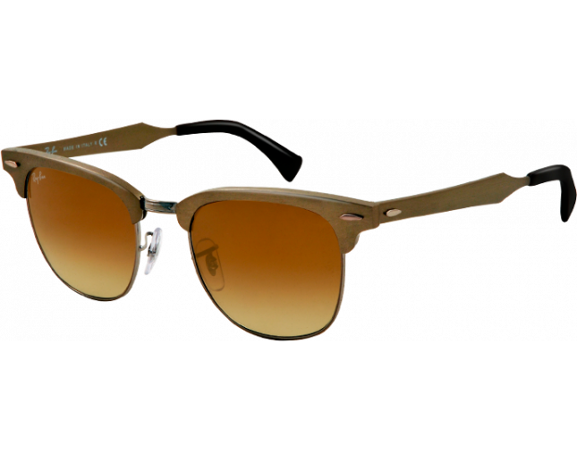 67bfbb655ebf2 Ray-Ban Clubmaster Aluminium Brushed Bronze Gunmetal Light Brown - RB3507  139 85 - Sunglasses - IceOptic