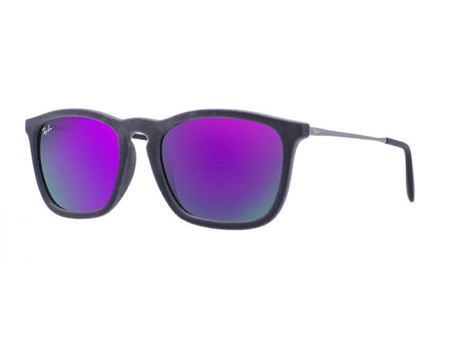 Ray-Ban Chris Velvet Flock Grey Grey Mirror Violet - RB4187 6077 4V ICE -  Sunglasses - IceOptic d64098e1bc