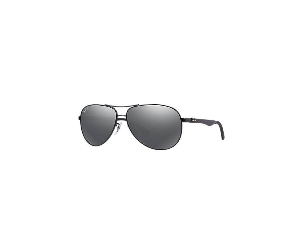 c642538b95b Ray-Ban Aviator Tech Carbon Fibre Shiny Black Grey Mirror Black Polar - RB8313  002 K7 - Sunglasses - IceOptic