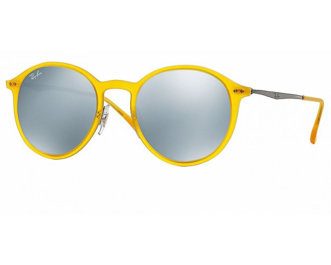 83b4c610912a7 Ray-Ban Round Light Ray Matte Opal Yellow Green Mirror Silver - RB4224  618 630 - Sunglasses - IceOptic