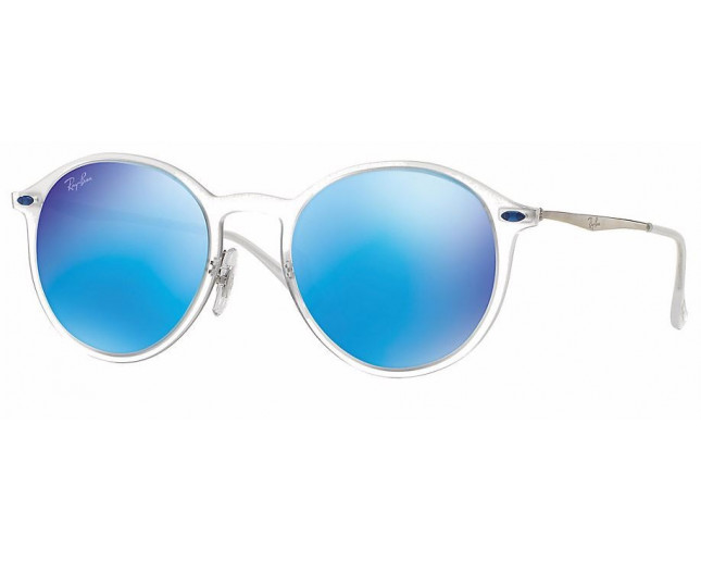 008073fc8 Ray-Ban Round Light Ray Matte Transparent Green Mirror Blue - RB4224 646/55  - Sunglasses - IceOptic