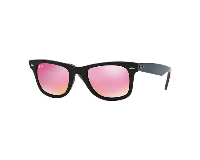 6f3757c1298af Ray-Ban Wayfarer Black Green Mirror Fuxia - RB2140 1174 4T - Sunglasses -  IceOptic