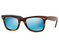 Ray-Ban Wayfarer Striped Havana Grey Mirror Blue