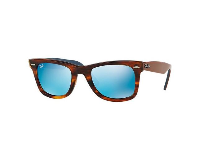 c7c5a5b1a4402 Ray-Ban Wayfarer Striped Havana Grey Mirror Blue - RB2140 1176 17 -  Sunglasses - IceOptic