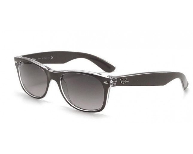 01fe36e71c Ray-Ban New Wayfarer Top Brushed Gunmetal On Transparent Grey Gradient Dark  Grey - RB2132 6143 71 - Sunglasses - IceOptic