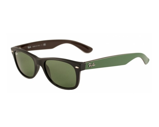 a03079f6cca36 Ray-Ban New Wayfarer Matte Black Green - RB2132 6184 4E - Sunglasses -  IceOptic