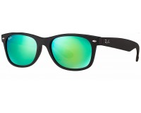 Ray-Ban New Wayfarer Rubber Black Grey Mirror Green