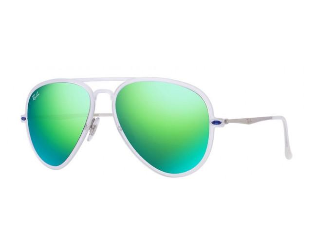04801fc5b6d93 Ray-Ban Aviator Light Ray II Matte Transparent Green Mirror - RB4211 646 3R  ICE - Sunglasses - IceOptic