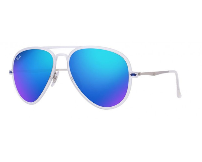 9e2050e35acd6 Ray-Ban Aviator Light Ray II Matte Transparent Green Mirror Blue - RB4211  646 55 ICE - Sunglasses - IceOptic