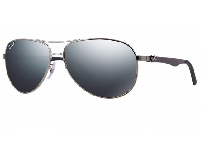 Ray-Ban Aviator Tech Carbon Fibre Shiny Gunmetal Blue Mirror Silver Polar 103ff5602cc6