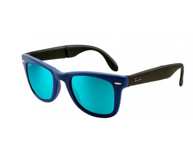 f745609b889822 Ray-Ban Wayfarer Pliante Flash Lenses Matte Blue Crystal Green Mirror Blue  - RB4105 6020 17 ICE - Sunglasses - IceOptic