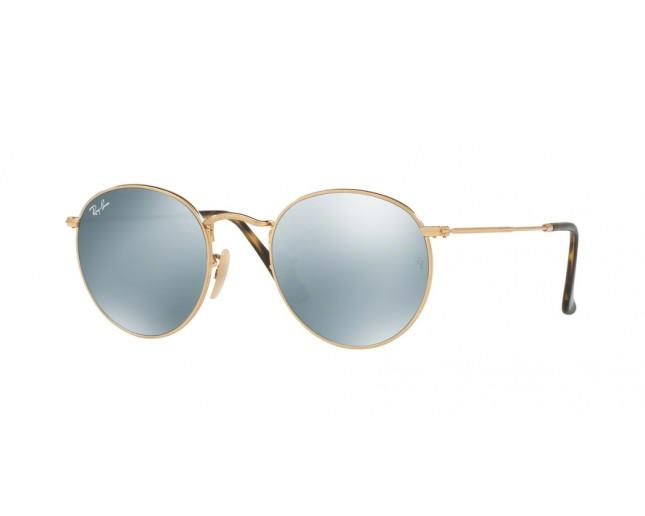 530ca56a6 Ray-Ban Round Flat lens Metal Shiny Gold Crystal Grey Flash ...