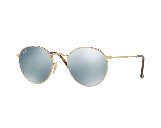 c6eb6ceee29 Ray-Ban Round Metal Shiny Gold Crystal Grey Flash - RB3447N 001 30 ...