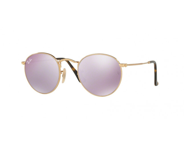 d63caf65f64f50 Ray-Ban Round Metal Shiny Gold Crystal Wisteria Flash - RB3447N 001 ...