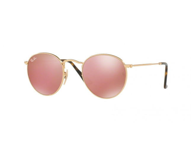 d4d0440f439 Ray-Ban Round Metal Shiny Gold Crystal Copper Flash - RB3447N 001 Z2 ...