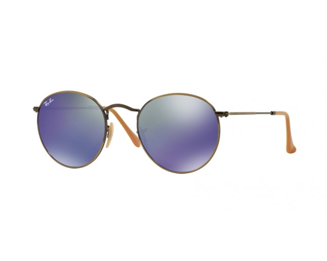 b04b63e523 Ray-Ban Round Metal Demiglos Brushed Bronze Blue Mirror - RB3447 167 ...