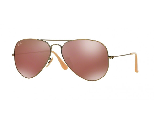Ray-Ban Aviator Demiglos Brushed Bronze Red Mirror - RB3025 167 2K ... ea85390292