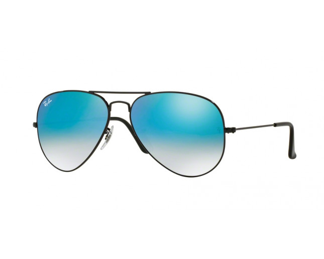 2e4f534984b Ray-Ban Aviator Shiny Black Mirroir Gradient Blue - RB3025 002 4O ...