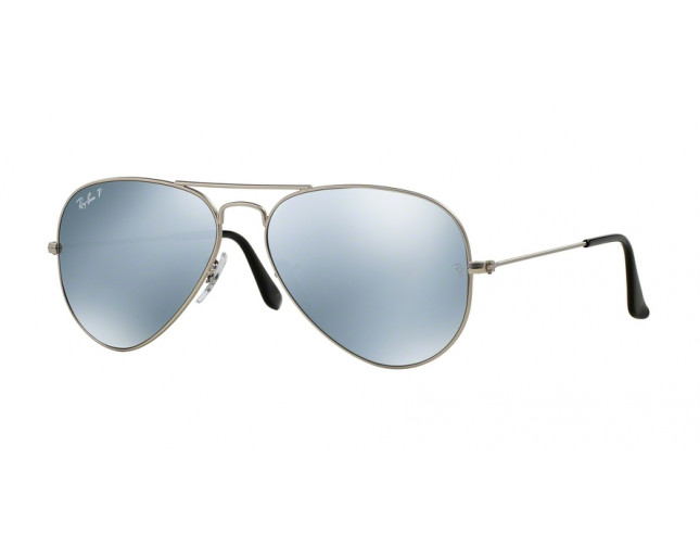 Ray-Ban Aviator Limited Edition Matte Silver Silver Mirror Polar HD ... 44190499d4