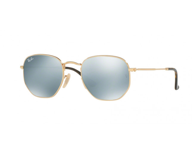 15c8ce94216 Ray-Ban Hexagonal Gold Grey Flash - RB3548N 001 30 - Sunglasses ...