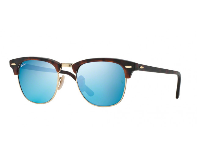 e3fec0513be Ray-Ban Clubmaster Sand Havana Gold Crystal Grey Mirror Blue ...
