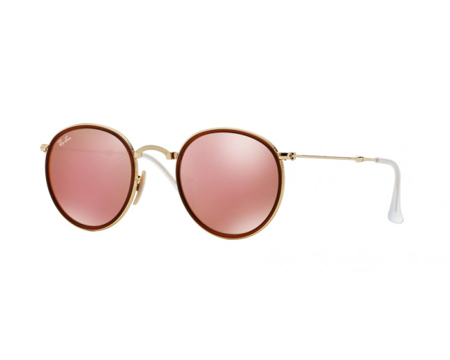 Ray Ban Round Metal Pliantes Gold Brown Mirror Pink