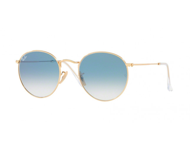 0999a4bfd Ray-Ban Round Flat lens Metal Arista Gold Blue Gradient Mirror ...
