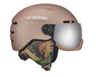 Cébé Casque de Ski Fireball Matt Champagne Flower 2 visières Grey Flash Mirror cat.3 & Yellow Flash Mirror cat.1